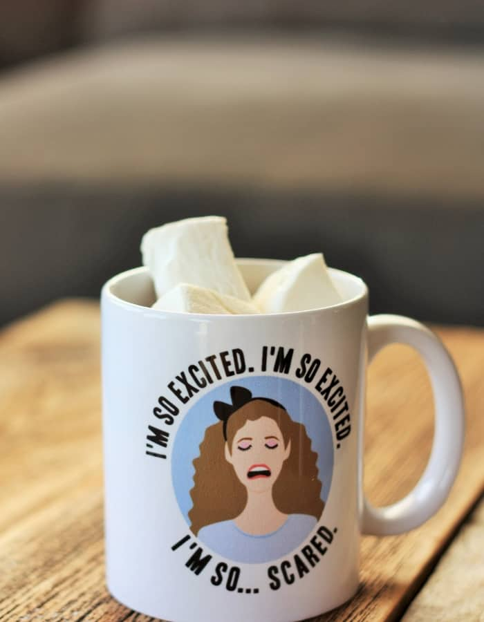 A saved by the bell jessie spano mug with homemade marshmallows