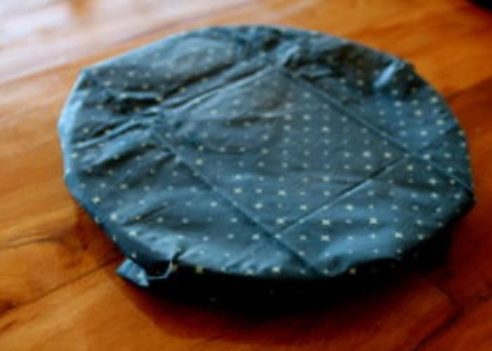 a bowl covered with a homemade beeswax wrap