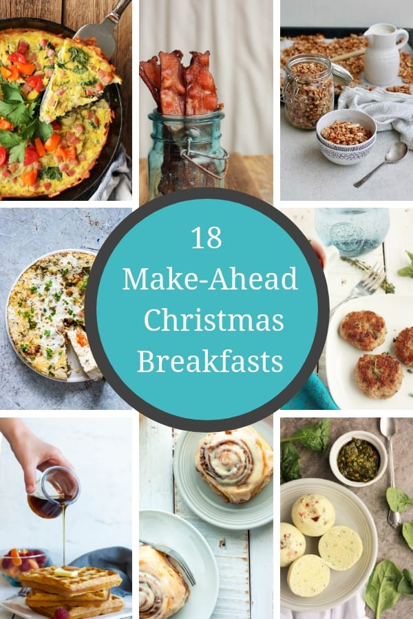 18 of the most delicious Make Ahead Christmas Morning Breakfasts. 18 easy ideas for overnight breakfast casseroles, healthy dishes, and sweet treats. #christmasbreakfast #christmasbrunch #makeheadbreakfast