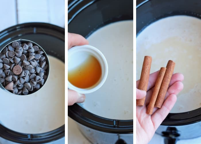 Three photos showing the steps for making slow cooker hot chocolate