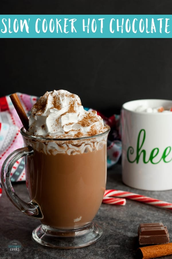 Create the creamiest, most decadent cocoa for a crowd with Slow Cooker Hot Chocolate. This easy recipe will be a hit at your next holiday party or a cozy treat after a day of playing in the snow. #hotchocolate #hotcocoa #slowcookercocoa #cinnamonhotchocolate #spicyhotchocolate