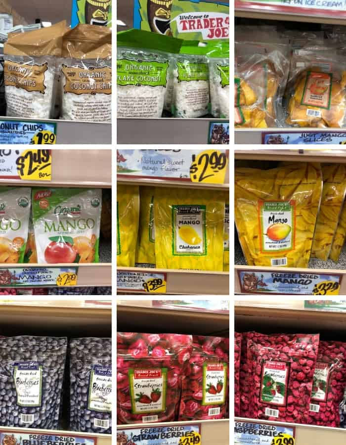 an assortment of dried fruit from trader joe's that is whole30 compliant