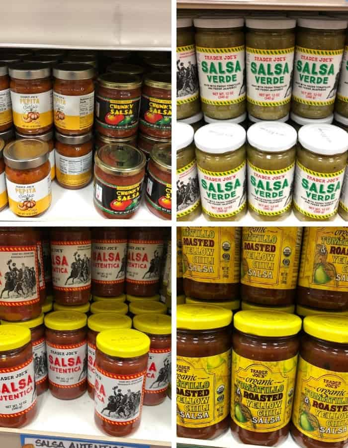 4 photos of whole30 compliant salsas at trader joes