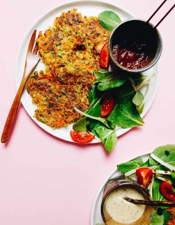 whole30 hashbrowns on a plate with sauce for whole30 breakfast ideas