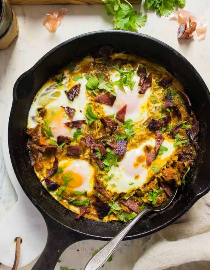 shakshuka in a cast iron for whole30 breakfast ideas