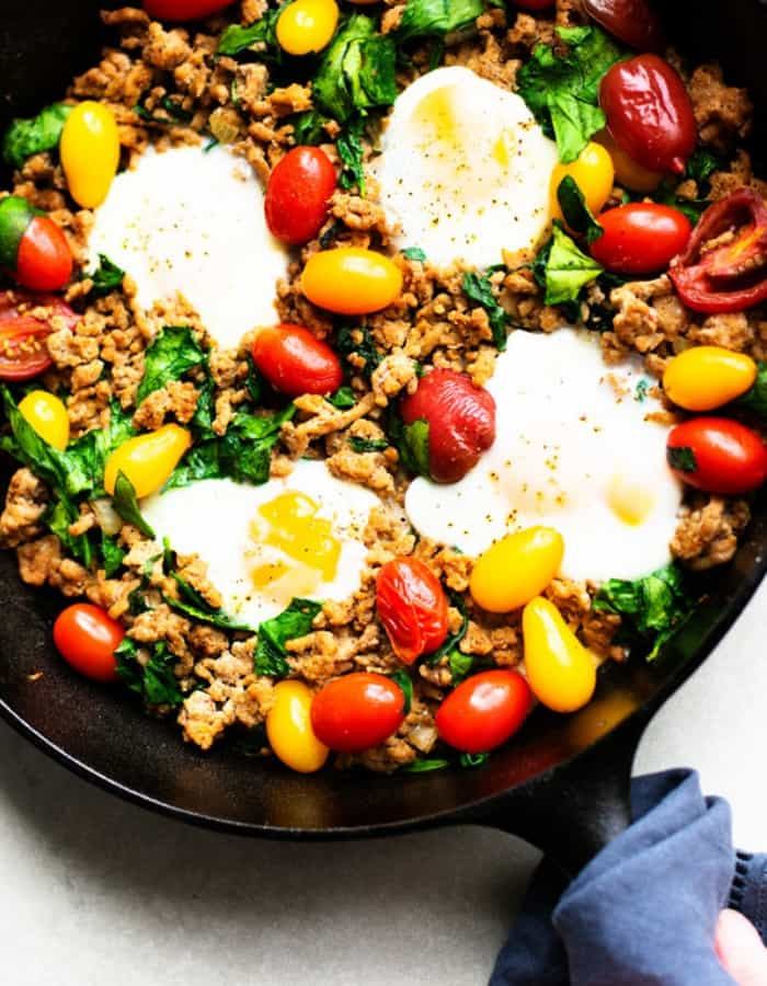 healthy taco skillet with eggs for whole30 dinners