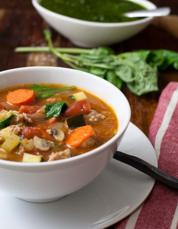 Whole30 sausage soup for whole30 dinners