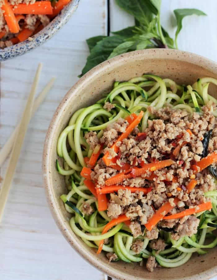 basil thai chicken in a bowl for whole30 dinners