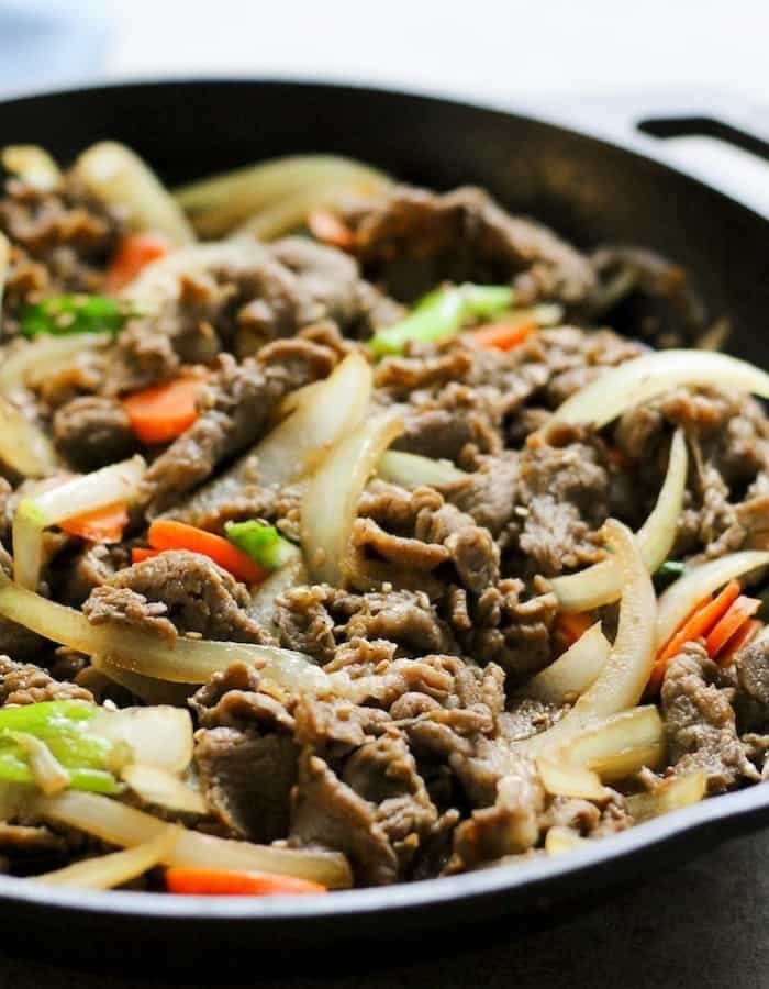 whole30 bulgogi with veggies in a pan for whole30 dinners