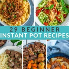 a photo grid with 5 Instant Pot recipes