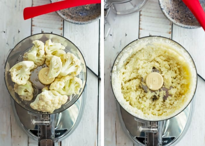 two photos of cauliflower in a food processor for making cauliflower patties