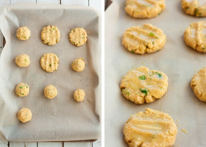 Two photos showing how to form and bake cauliflower patties