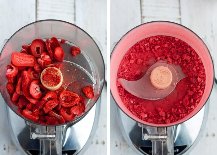 Two photos showing strawberries in a food processor for making dark chocolate truffles