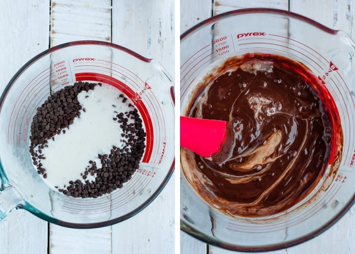 two photos showing melting chocolate for making dark chocolate truffles