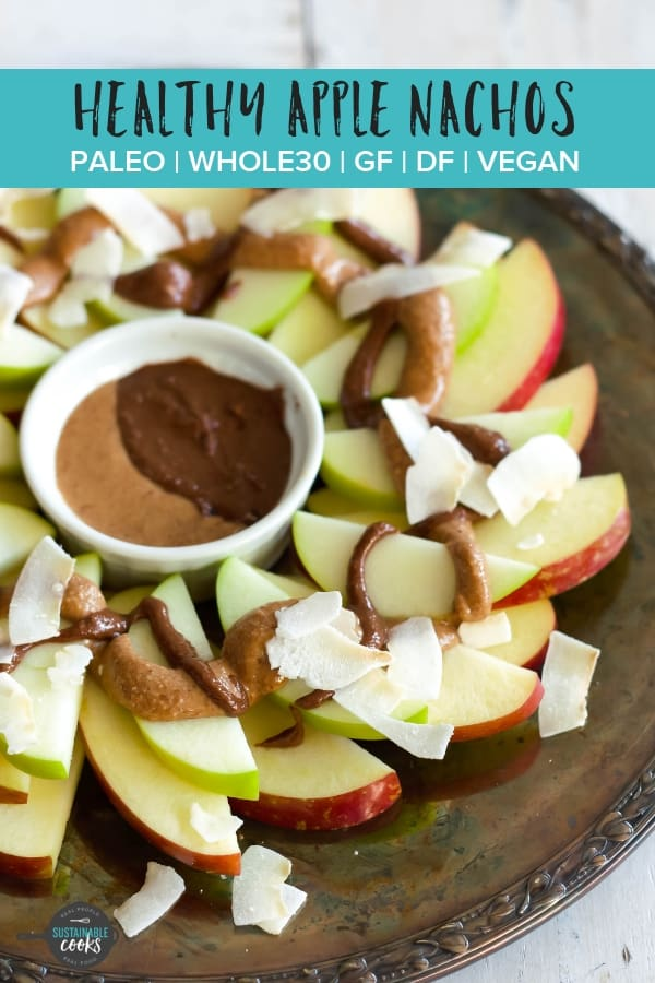 This easy recipe for Healthy Apple Nachos make an amazing appetizer, snack, or treat for kids or adults. Easy to make ahead, they are a sugar-free crowd pleaser for anyone you're serving. #applenachos #healthysnack #whole30snack #paleosnack #vegansnack