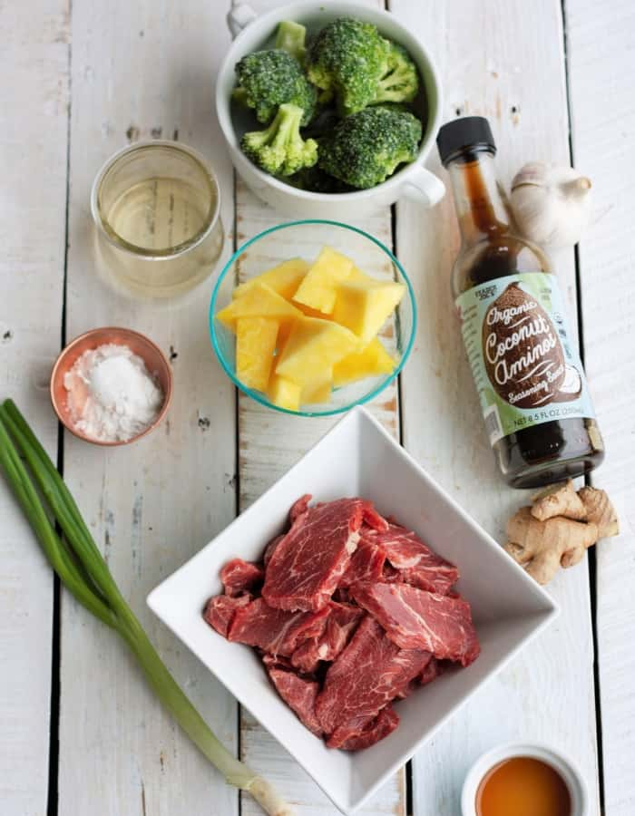 broccoli, sliced beef, and pineapple for making instant pot paleo beef and broccoli
