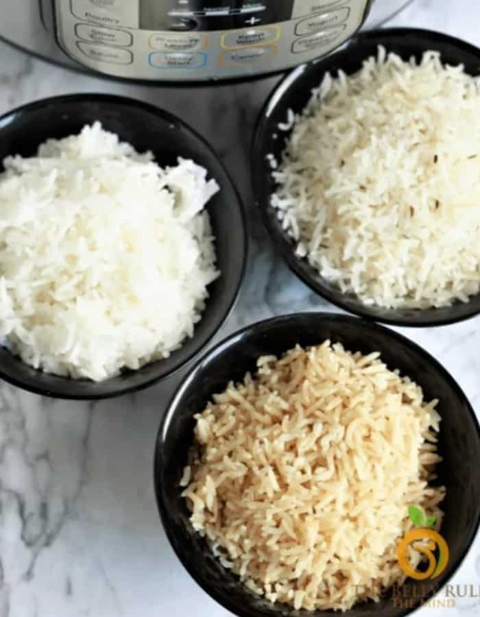 three bowls of rice with an instant pot