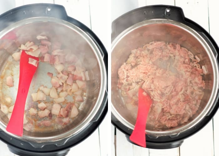 two photos showing cooking bacon and ground turkey in an instant pot for instant pot turkey chili
