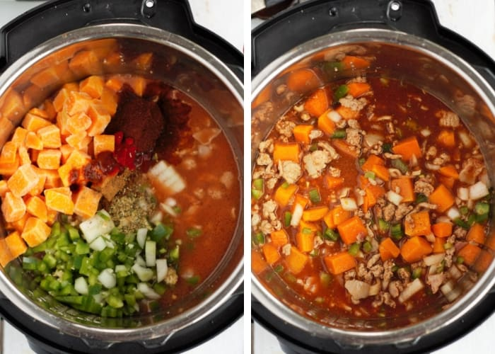 two photos showing ingredients mixed in an instant pot for instant pot turkey chili