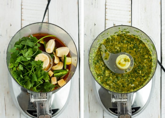 two photos showing how to make a marinade in a food processor for pork fajitas