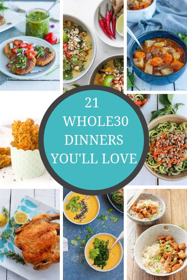 21 easy, healthy, and compliant Whole30 dinners that you'll actually want to eat week after week. 21 delicious quick recipes that can be made in the Instant Pot, crockpot, or stovetop. #whole30 #whole30dinners #paleodinners