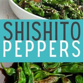 shishitos topped with sesame seeds in a white dish