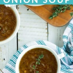 two bowls of instant pot french onion soup