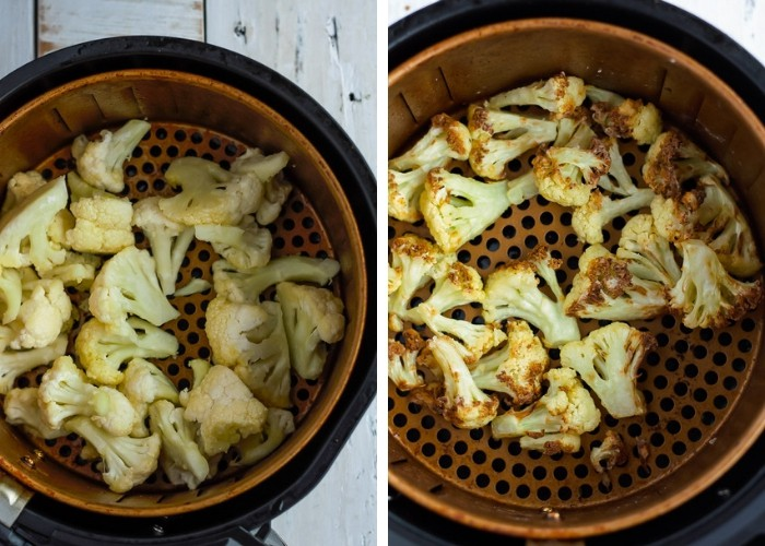 two photos of cauliflower in an air fryer basket for making Air Fryer Cauliflower