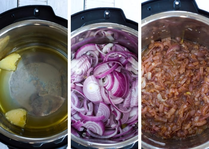 3 process photos showing how to caramelize onions in an Instant Pot for Paleo French Onion Soup