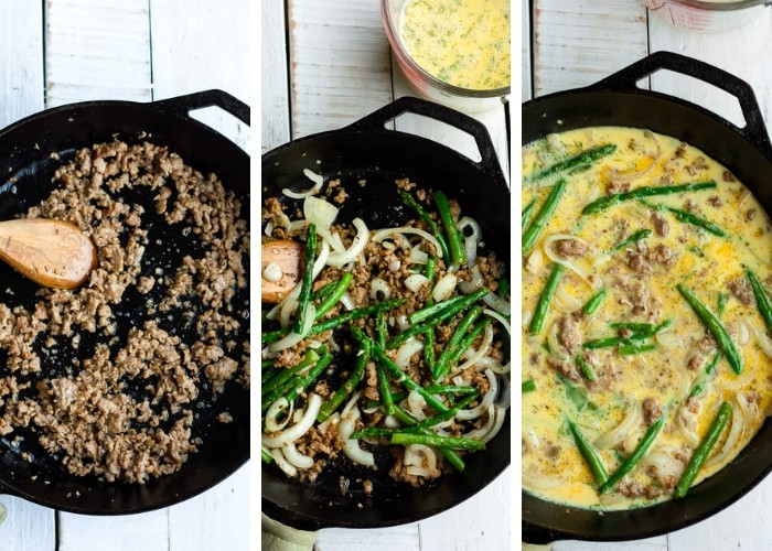 three photos showing the process of making a paleo frittata