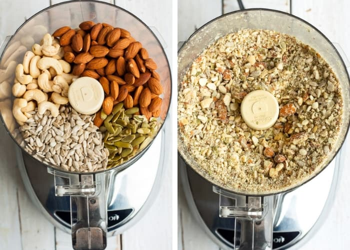 Nuts and seeds in a food processor for making paleo muesli