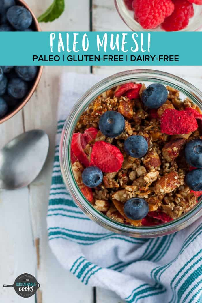Crunchy and naturally sweet, this coconutty Paleo Muesli is a hardy and delicious grain-free breakfast. An easy recipe using dried fruit and maple syrup, this delightfulpaleo granola clusters are also vegan and dairy-free. #paleogranola #paleomuesli #grainfreegranola #paleocereal