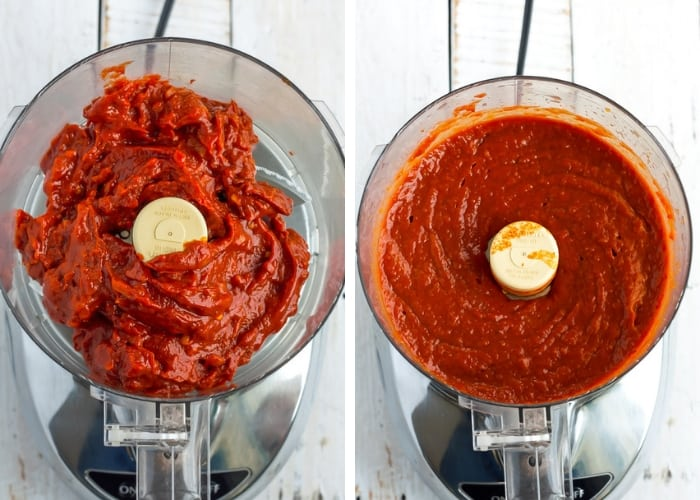 sugar-free bbq sauce in a food processor