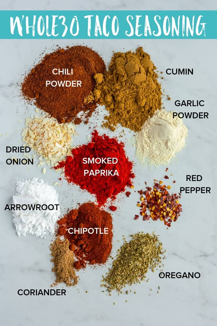 An uber simple Whole30 Taco Seasoning made with spices you already have in your spice cupboard! Cut out the junk and make your own delicious keto taco seasoning, low carb taco seasoning, and gluten-free taco seasoning.. #whole30tacoseasoning #paleotacoseasoning #ketotacoseasoning