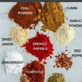 piles of spices and herbs to make paleo taco seasoning