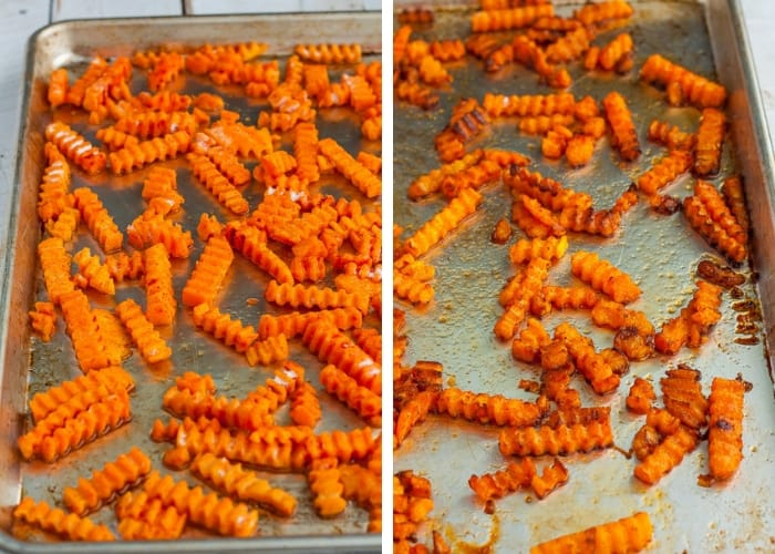 two photos showing the baking process for making a butternut squash fries recipe