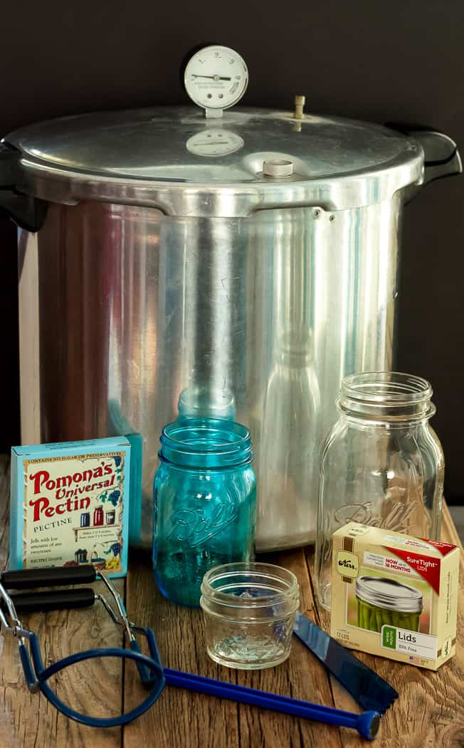 a pressure canner, jars, pectin, and other canning supplies