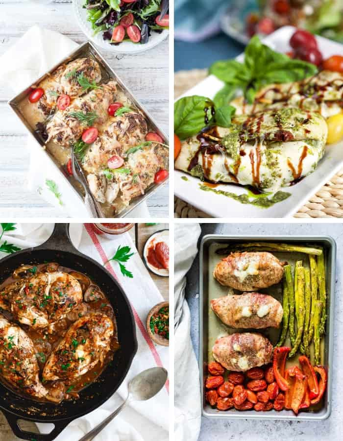 four photos of easy stuffed chicken breast recipes