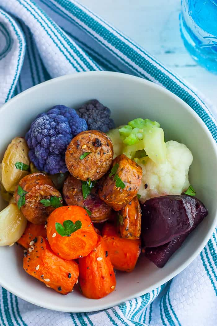 a bowl of healthy sausage with veggies