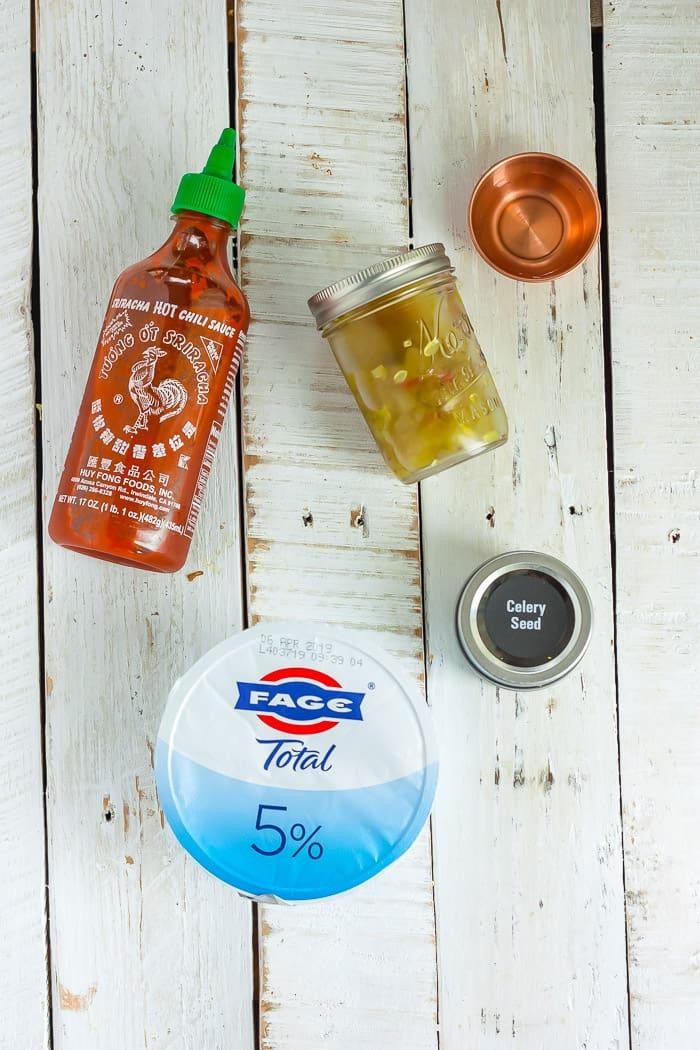 greek yogurt, sriracha, and other ingredients for sweet potato fries aioli