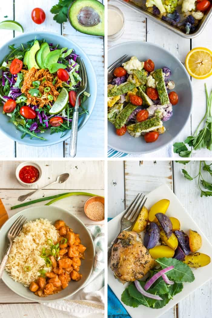 Four photos of whole30 chicken dinners