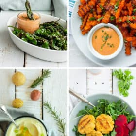 four photos of whole30 and paleo side dishes