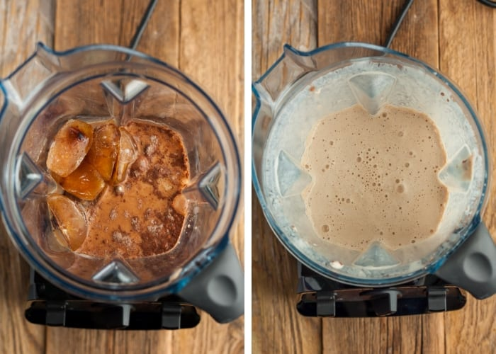 two photos of a blender making blended iced coffee
