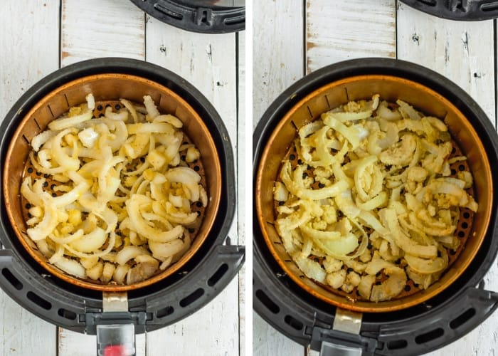 two photos showing fried onions in an air fryer