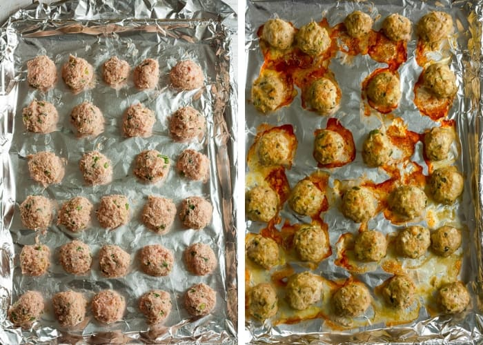 two photos of baked turkey meatballs on a foil-lined sheet