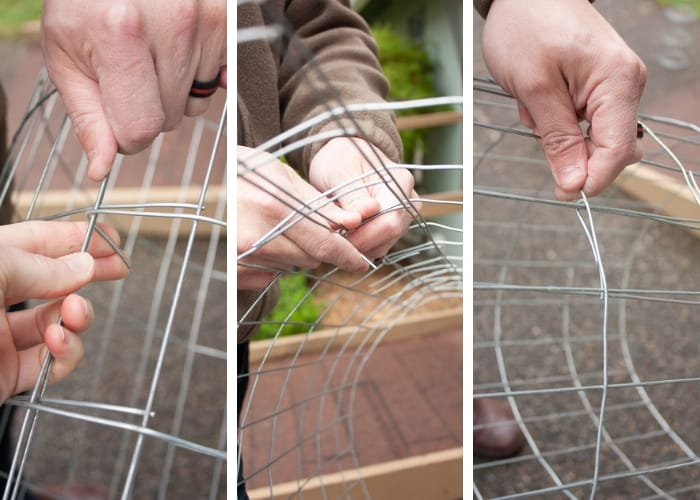 three photos showing how to bend wire to create strawberry towers