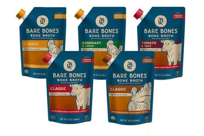 five packages of bare bones bone broth