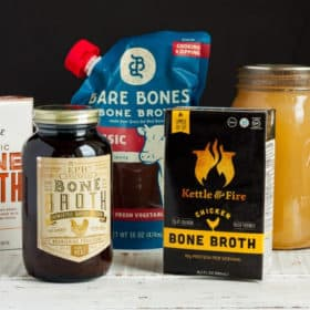 Five types of bone broth on a white board