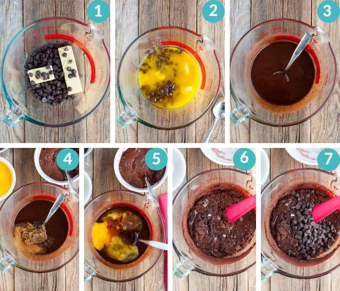 7 steps showing how to make gluten free brownies