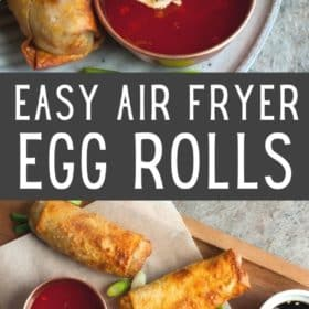 Air fryer egg rolls on a plate with dipping sauce
